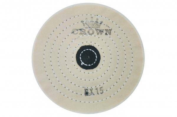 Круг муслиновый CROWN белый d-150мм, 15 слоев (с кож. пятаком)