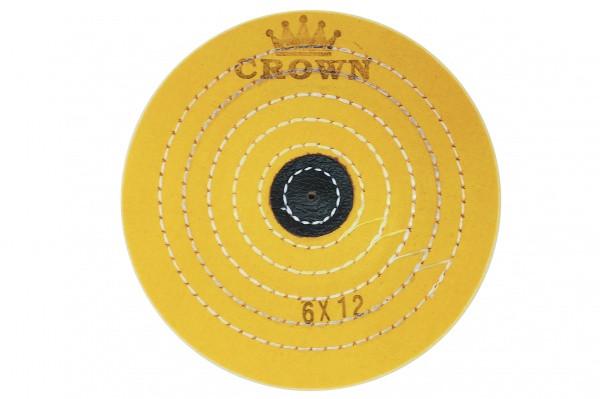 Круг муслиновый CROWN желтый d-150мм, 12 слоев (с кож. пятаком)