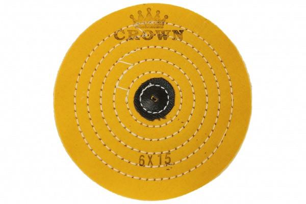 Коло муслиновый CROWN жовтий d-150мм, 15 шарів (з шкір. п'ятаком)