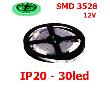 LED Лента 3528 12v IP20 30LED зелен.на бел.основе