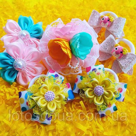 """Набір бантів на резинкі """"Маленька принцеса"""" (рожево-жовті тона), фото 2"""