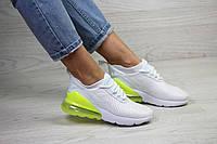 Кроссовки женские демисезонные в стиле Nike Air Max Белые с желто салатовым