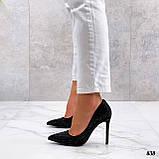 Жіночий класичні туфлі зі стразами на шпильці бежеві чорні, фото 2