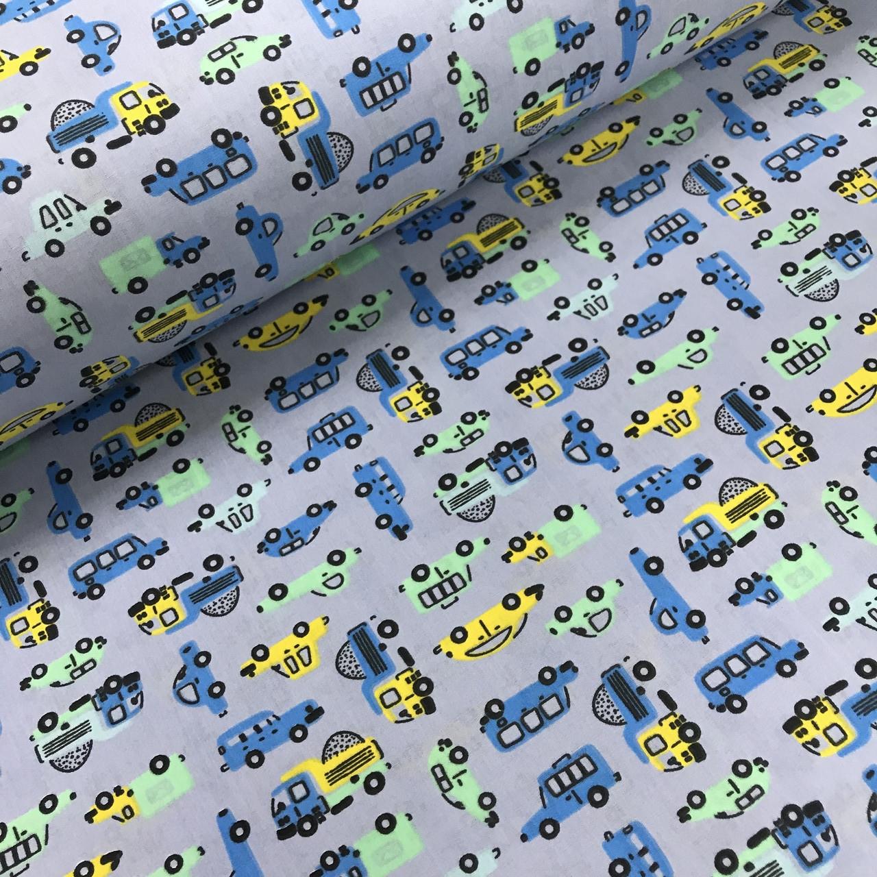 Тканина поплін дрібні сині, жовті, м'ятні машинки на сіро-бузковий (ТУРЕЧЧИНА шир. 2,4 м)