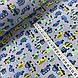 Тканина поплін дрібні сині, жовті, м'ятні машинки на сіро-бузковий (ТУРЕЧЧИНА шир. 2,4 м), фото 2