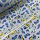 Тканина поплін дрібні сині, жовті, м'ятні машинки на сіро-бузковий (ТУРЕЧЧИНА шир. 2,4 м), фото 3