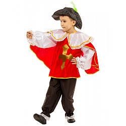 Карнавальный костюм МУШКЕТЕР В КРАСНОМ на 5,6,7,8,9,10,11 лет, детский маскарадный костюм ГВАРДЕЕЦ КАРДИНАЛА