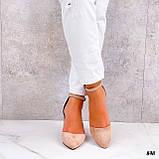 Женские туфли на невысоком устойчивом каблуке с ремешком на щиколотке бежевые, фото 4