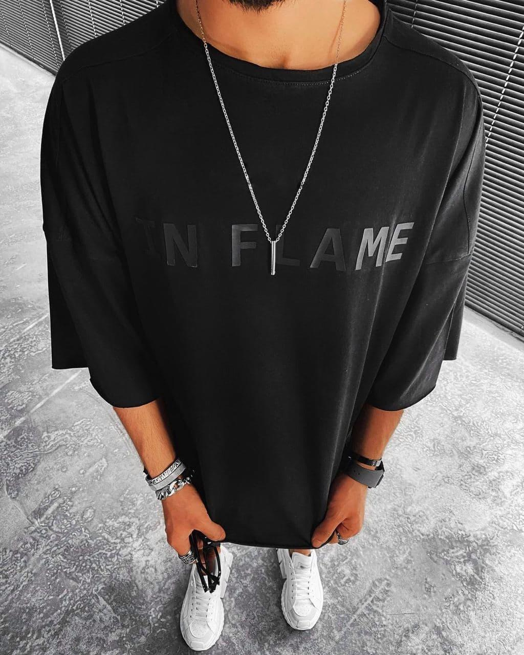 😜 Футболка - Мужская футболка оверсайз / футболка оверсайз чорна IN FLAME