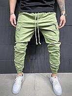 Весенние джинсы зелёные мужские(джоггеры) с карманами, джинсовые брюки карго зауженные на манжетах