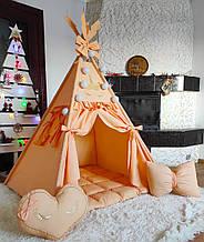 Вигвам Единорог на персиковом БОНБОН Полный комплект! Детский вигвам, вигвам для девочки, вигвам для детей