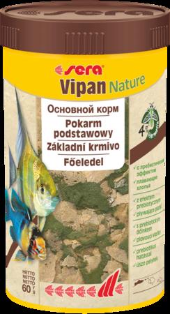 Сухий корм для всіх акваріумних, декоративних риб, пластівці Сірка Випан sera Vipan Nature 60г 250мл