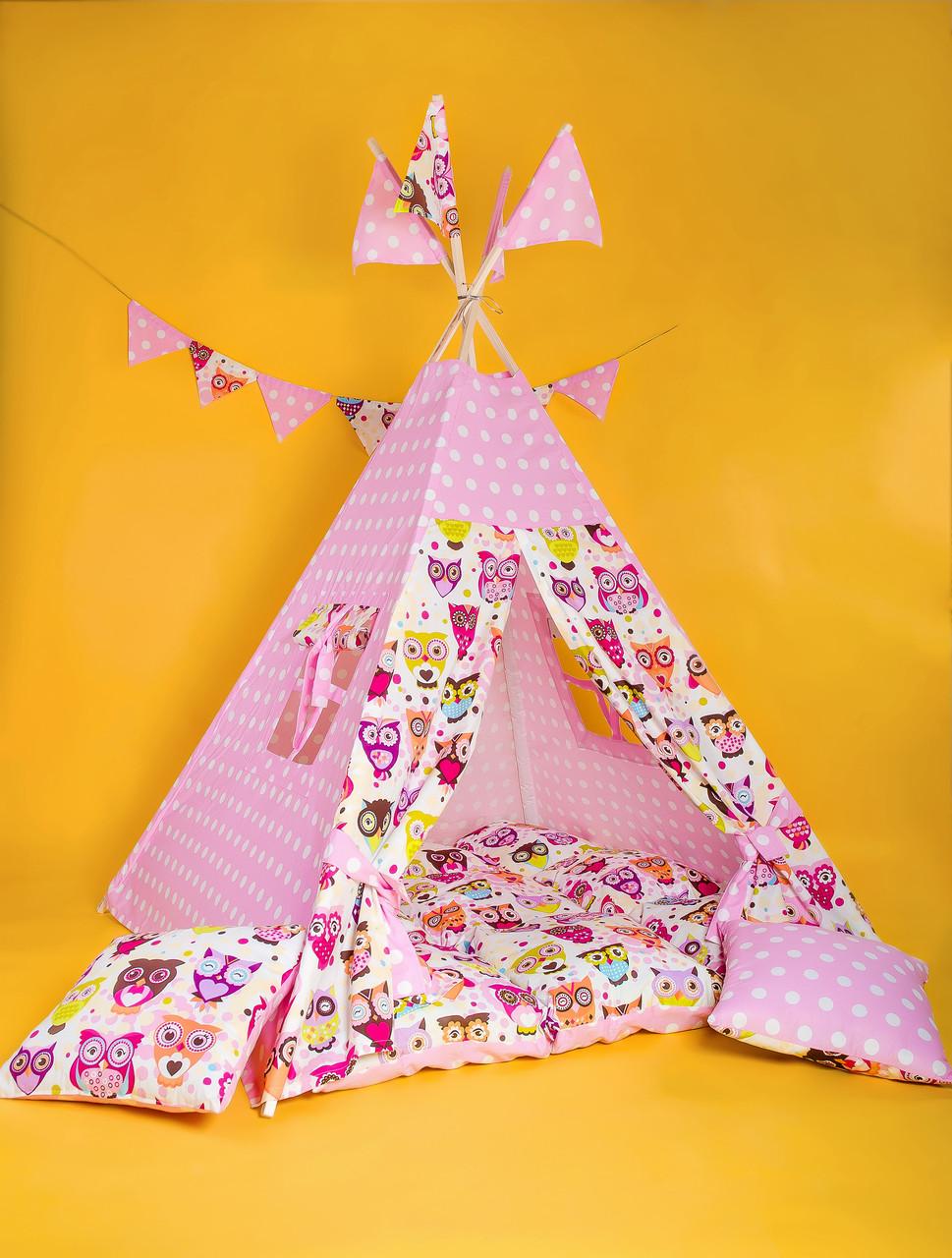 Вигвам Индийские совушки. Вигвам детский, детский вигвам, детский домик, детская палатка, вигвам палатка