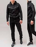 Мужской спортивный костюм черный Nike Турция весна-осень с капюшоном найк на весну и осень (чёрный) РЕПЛИКА
