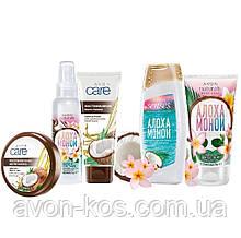 Подарочный набор с маслом кокоса Кокос и цветок тиаре  5 в 1 AVON Care Naturals-  Алоха Моной