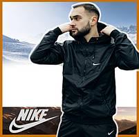 Мужская куртка черная спортивная с капюшоном не промокаемая ветровка Windbreaker