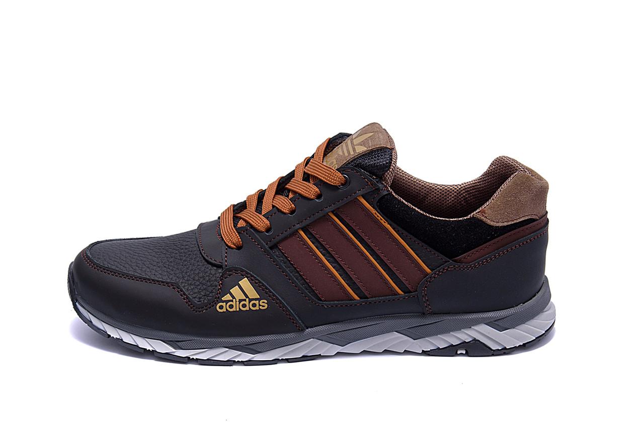 Чоловічі шкіряні кросівки Adidas Tech Flex Brown (репліка)