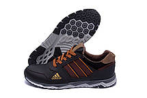 Чоловічі шкіряні кросівки Adidas Tech Flex Brown (репліка), фото 3