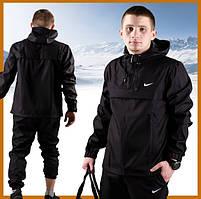 Куртка анорак мужская черная с капюшоном демисезонная, ветровка спортивная