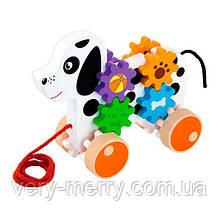 Деревянная каталка Viga Toys Собачка с шестеренками (50977)