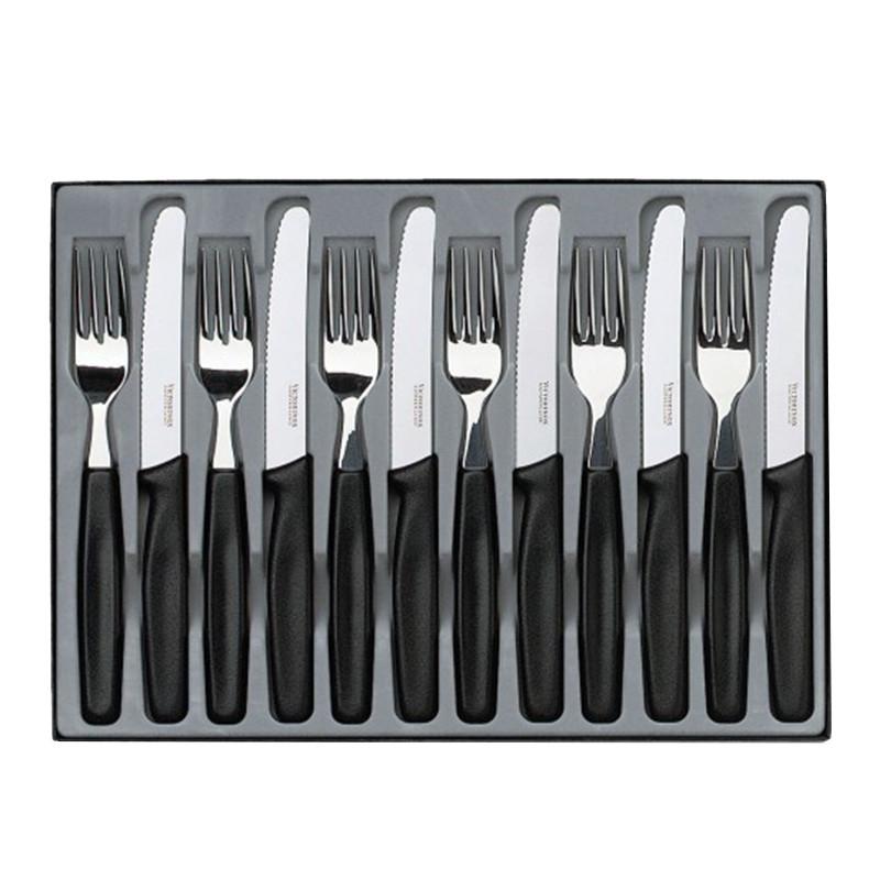 Набор кухонный Victorinox Table Set (6 ножей закруг.с серрейт. лезвием, 6 вилок), черный 5.1333.12