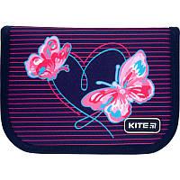 K21-622-3 Пенал без наполнения KITE 2021 Education Butterflies 622-3, 1 отделение, 2 отворота