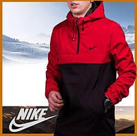 Куртка анорак мужская черная-красная с капюшоном демисезонная, ветровка спортивная