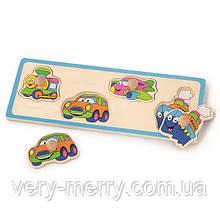 Деревянная рамка-вкладыш Viga Toys Веселый транспорт (50112)