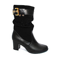 Стильные зимние женские ботинки на невысоком каблуке, натуральная кожа и замш, фото 1