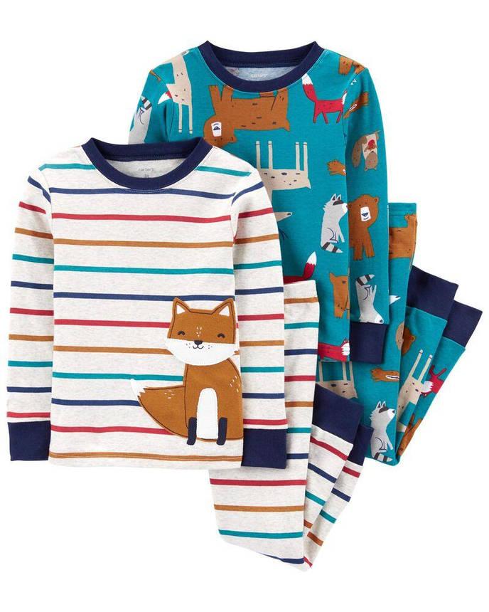Комплект бавовняних піжам Лис з 4-х частин, фото 2