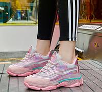 Женские розовые кроссовки на силиконовой подошве с голографическими вставками 37,38,39 (маломиркы)