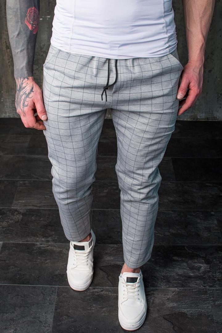 Мужские универсальные брюки в клетку Slow Grey Серые