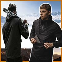 Куртка мужская черная с капюшоном демисезонная Intruder, спортивная ветровка молодежная непромокаемая