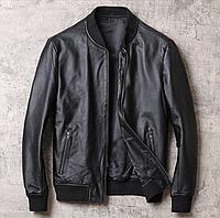 Мужской кожаный бомбер черный. Весенняя кожаная куртка. Арт.0131