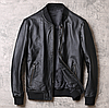 Чоловічий шкіряний бомбер чорний. Весняна шкіряна куртка. Арт.0131