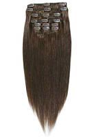 Волосы на заколках 40 см 120 грамм. Цвет #04 Коричневый
