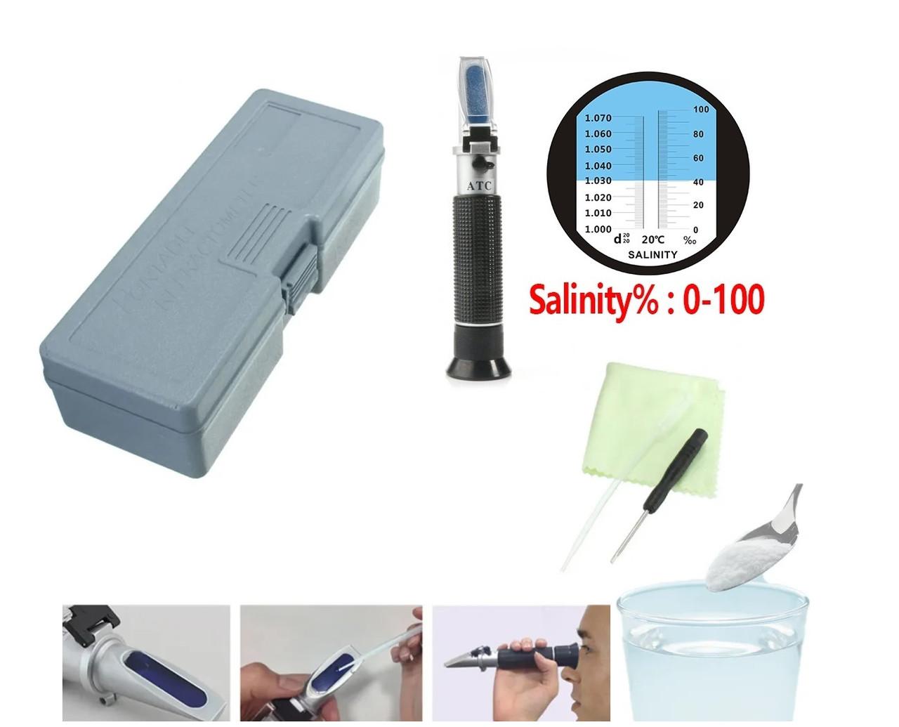 🔵Рефрактометр RZ 118+футляр тестер для измерения уровня соли 🜔, соленость воды