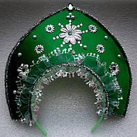 Кокошник снегурочки (зелёный)