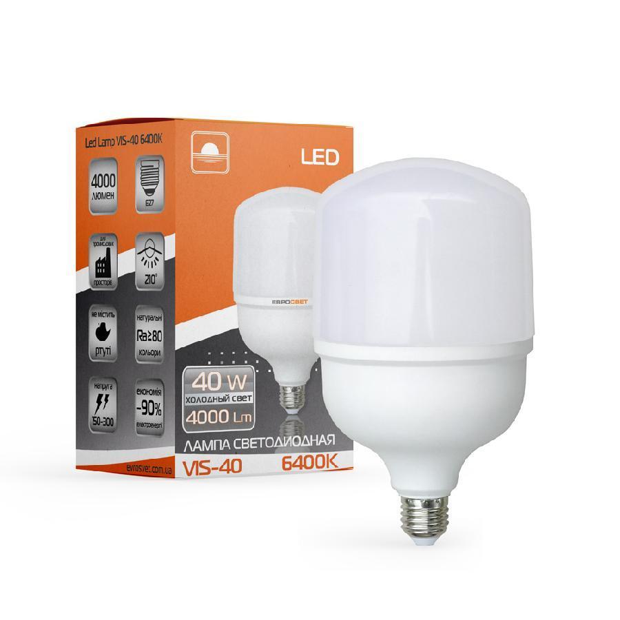 Лампа світлодіодна високопотужна ЕВРОСВЕТ 40Вт 6400К (VIS-40-E40)