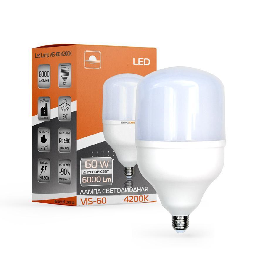 Лампа светодиодная высокомощная ЕВРОСВЕТ 60Вт 4200К (VIS-60-E27)