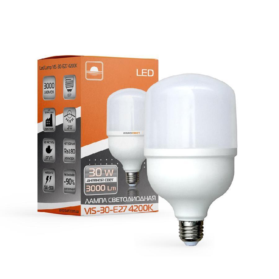 Лампа светодиодная высокомощная ЕВРОСВЕТ 30Вт 4200К (VIS-30-E27)