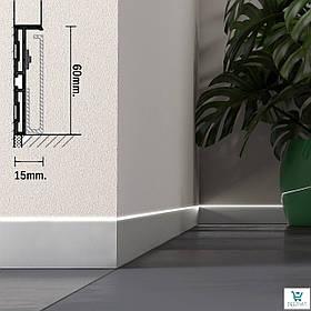Светодиодный плинтус алюминиевый для пола скрытого монтажа 87/LED. Светящийся плинтус в уровень со стеной