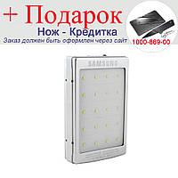 Power Bank Samsung 10000mAh 2USB1A 2A с солнечной батареей,индикатор заряда, фонарик 20SMD Серебристый