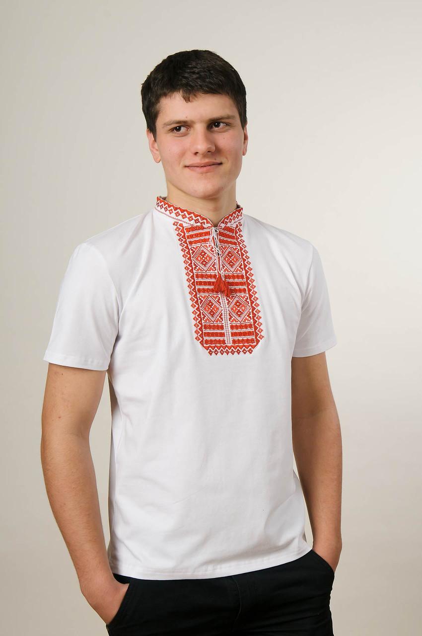 Мужская вышитая футболка с коротким рукавом в белом цвете «Гладь (красная вышивка)»