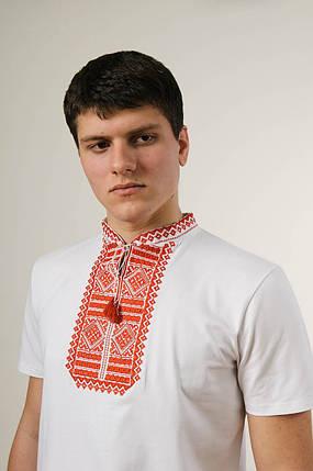 Мужская вышитая футболка с коротким рукавом в белом цвете «Гладь (красная вышивка)», фото 2