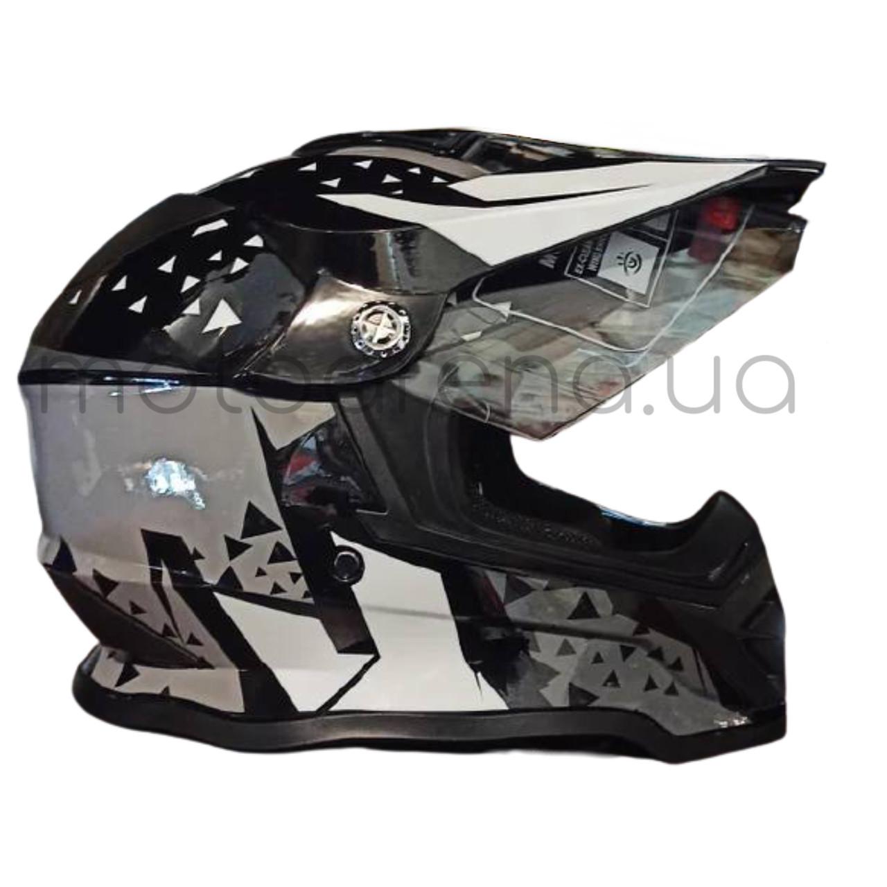 Шлем F2 кроссовый (чёрно-серый)