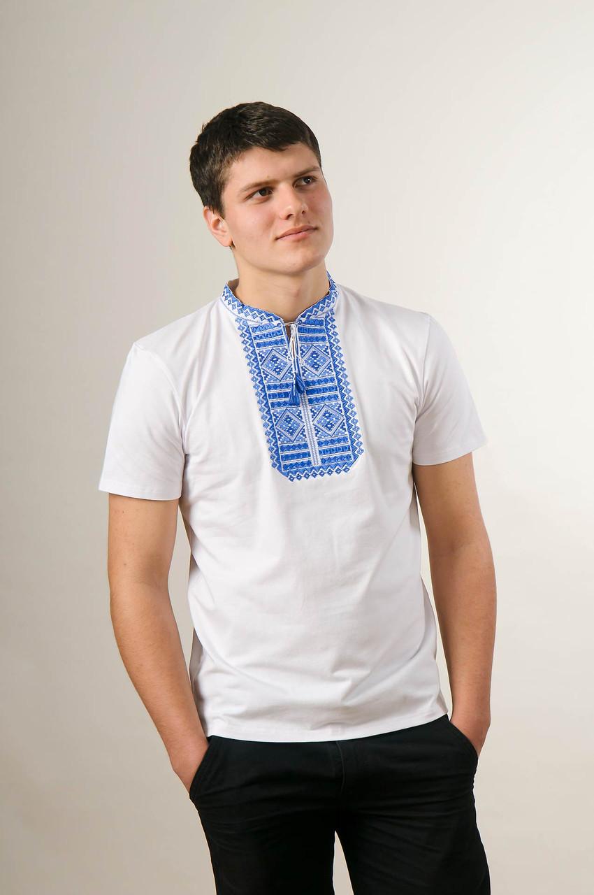 Мужская вышиванка в белом цвете с коротким рукавом «Гладь (синяя вышивка)»