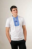 Чоловіча вишиванка у білому кольорі на короткий рукав «Гладь (синя вишивка)», фото 1