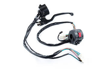 Блоки кнопок руля (пара) Cузуки (Suzuki) AX100 (черные, рычаги, крепление) XVP