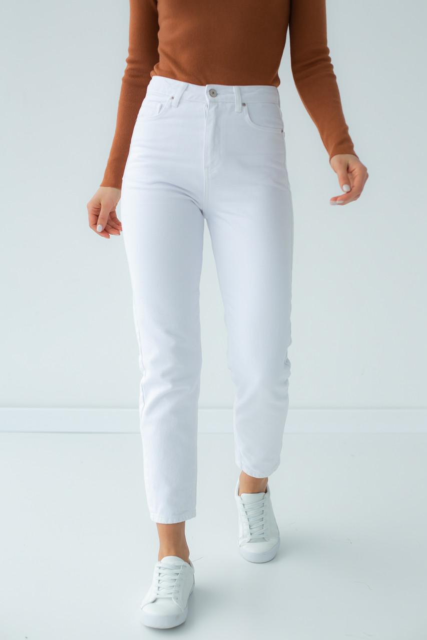 Однотонные джинсы мом Denim Palace - белый цвет, 38р (есть размеры)